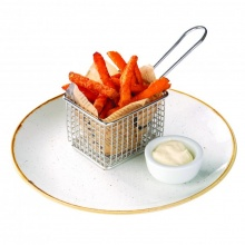 Sweet french fries with mayonnaise